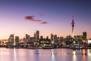 Auckland, New Zealand skyline at dawn