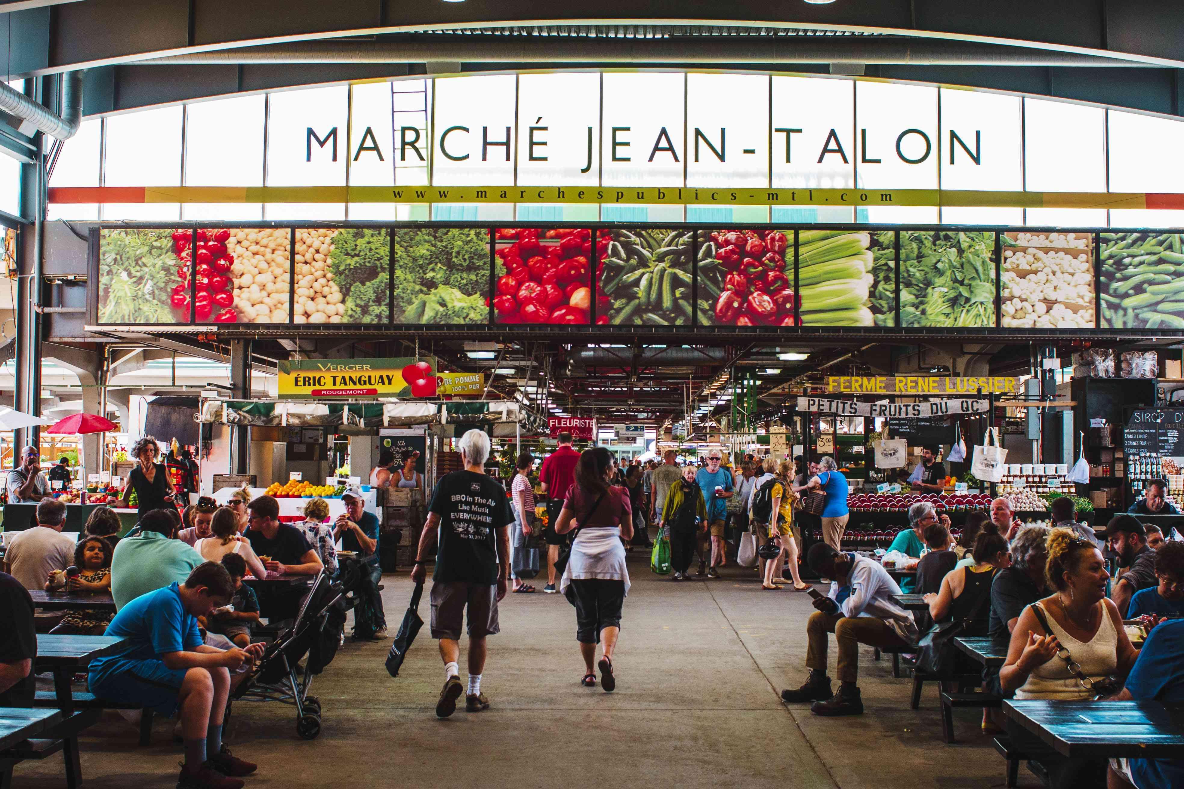 Seating area at Jean Talon Market