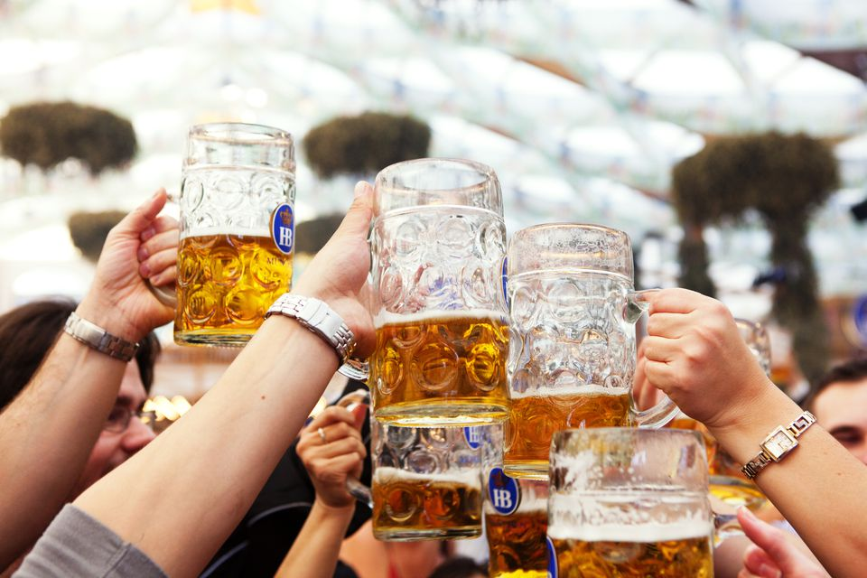 Beers at Oktoberfest in Germany