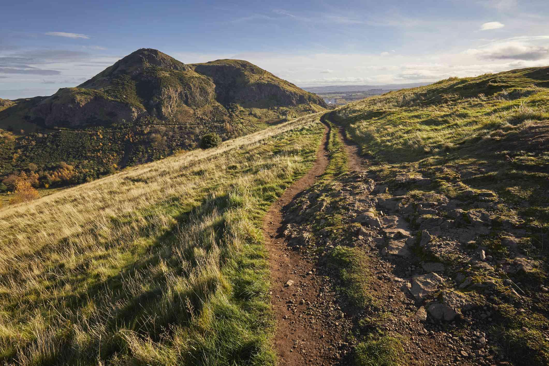 Arthur's Seat peak, summit, walking path on Salisbury Crags Holyrood Park, Edinburgh