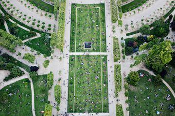 People in Champs de Mars park