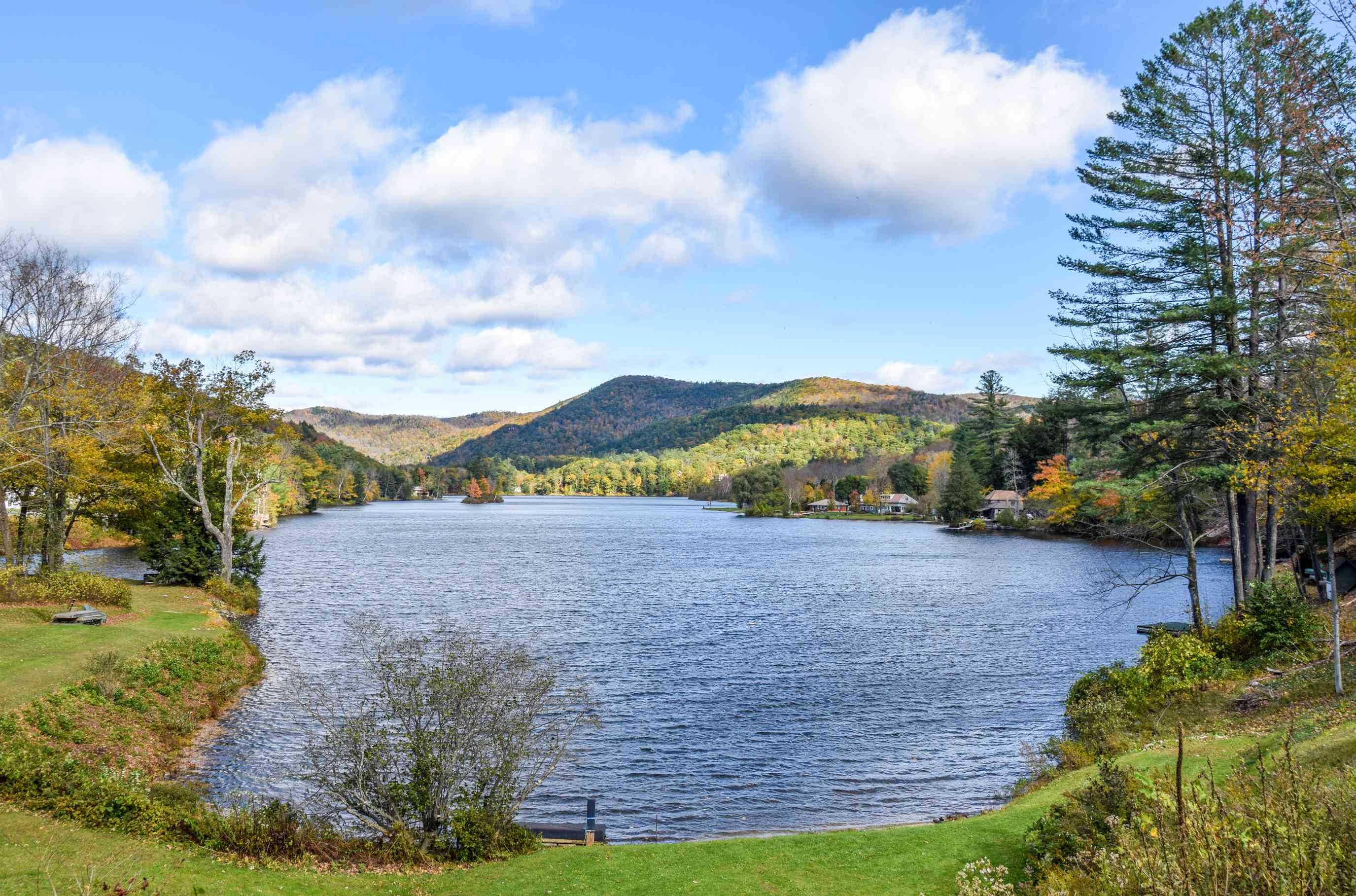 Fall foliage around a lake in Vermont