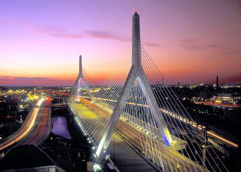 USA, Massachusetts, Boston, Leonard P. Zakim Bunker Hill Bridge, dusk