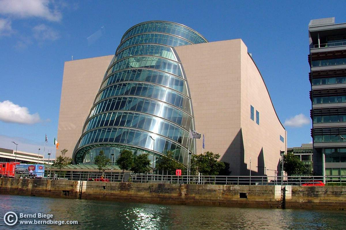The National Conference Centre on the northern bank of the Liffey.