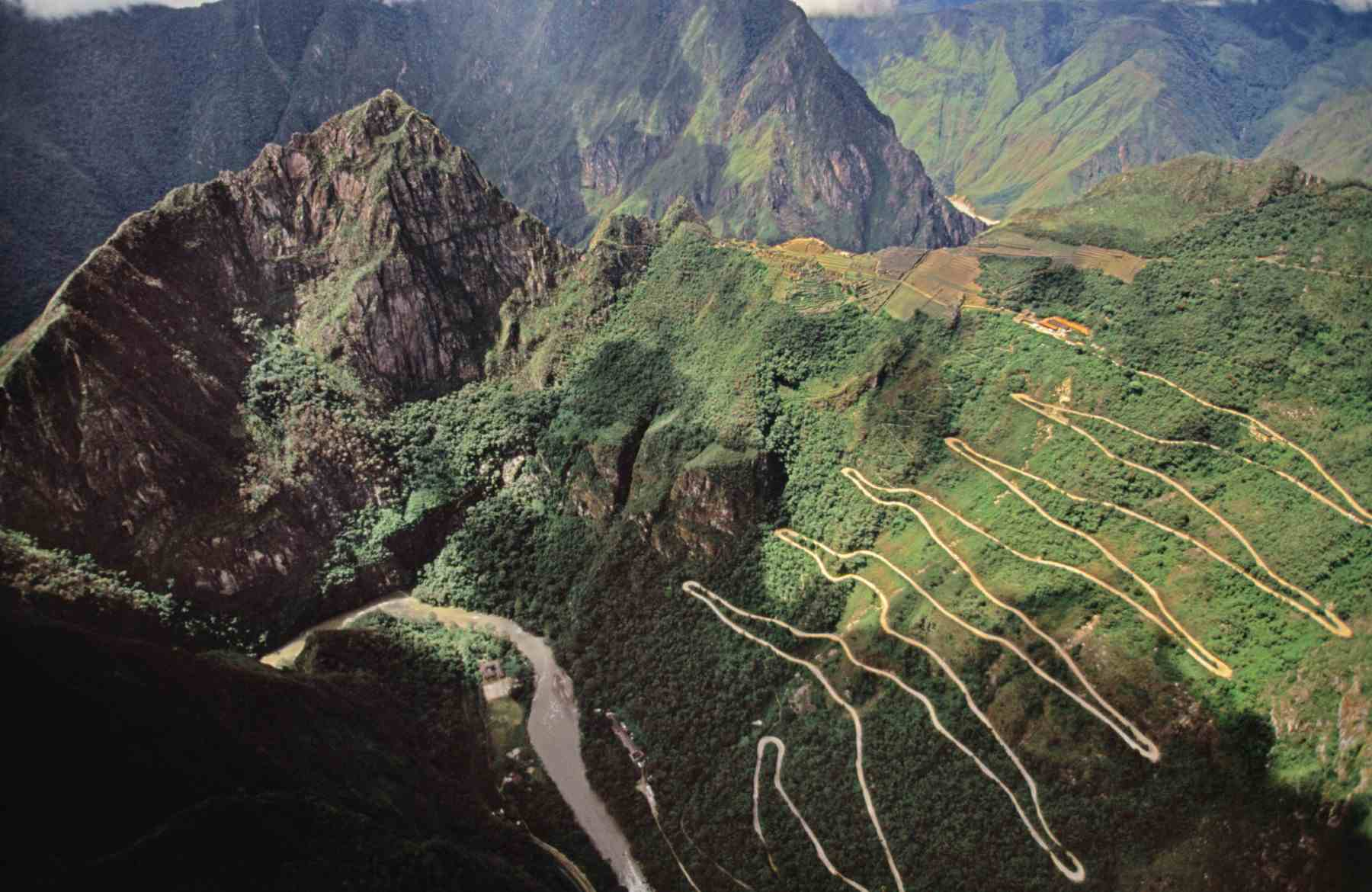 Aerial view of road leading to Machu Picchu