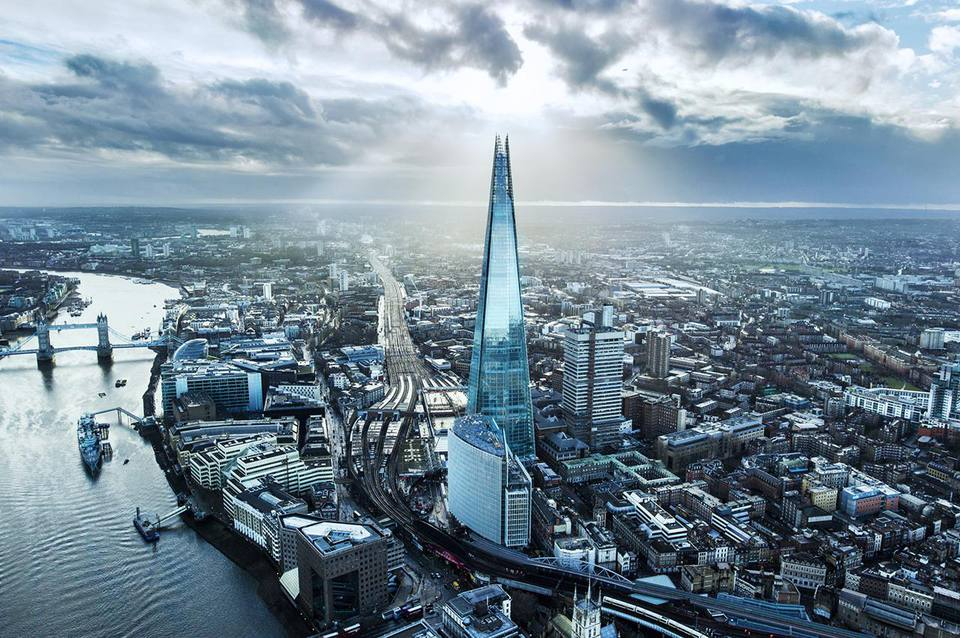 Aerial view of The Shard in London