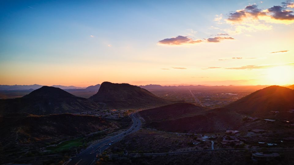 Sunset over the mountains of Fountain Hills facing Scottsdale.