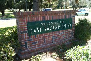 East Sacramento near a bus stop.