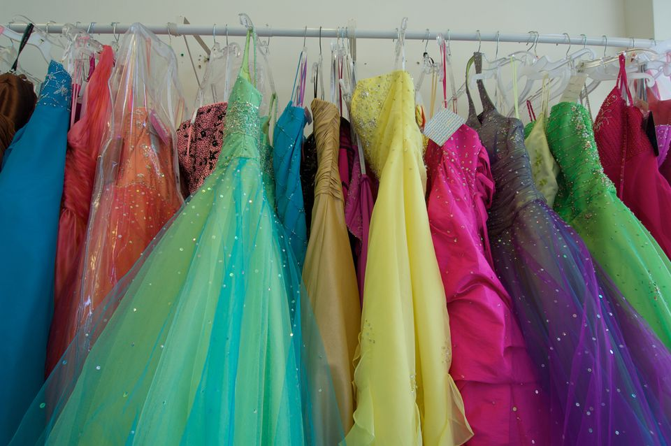 e43a61dbf64 Pretty prom dresses ready for young shoppers crowd the rack.