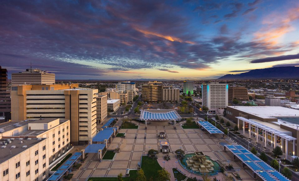 Colorful Morning Sky Over Civic Plaza, Albuquerque