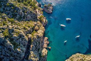 Aerial view of Sa Calobra beach in Mallorca