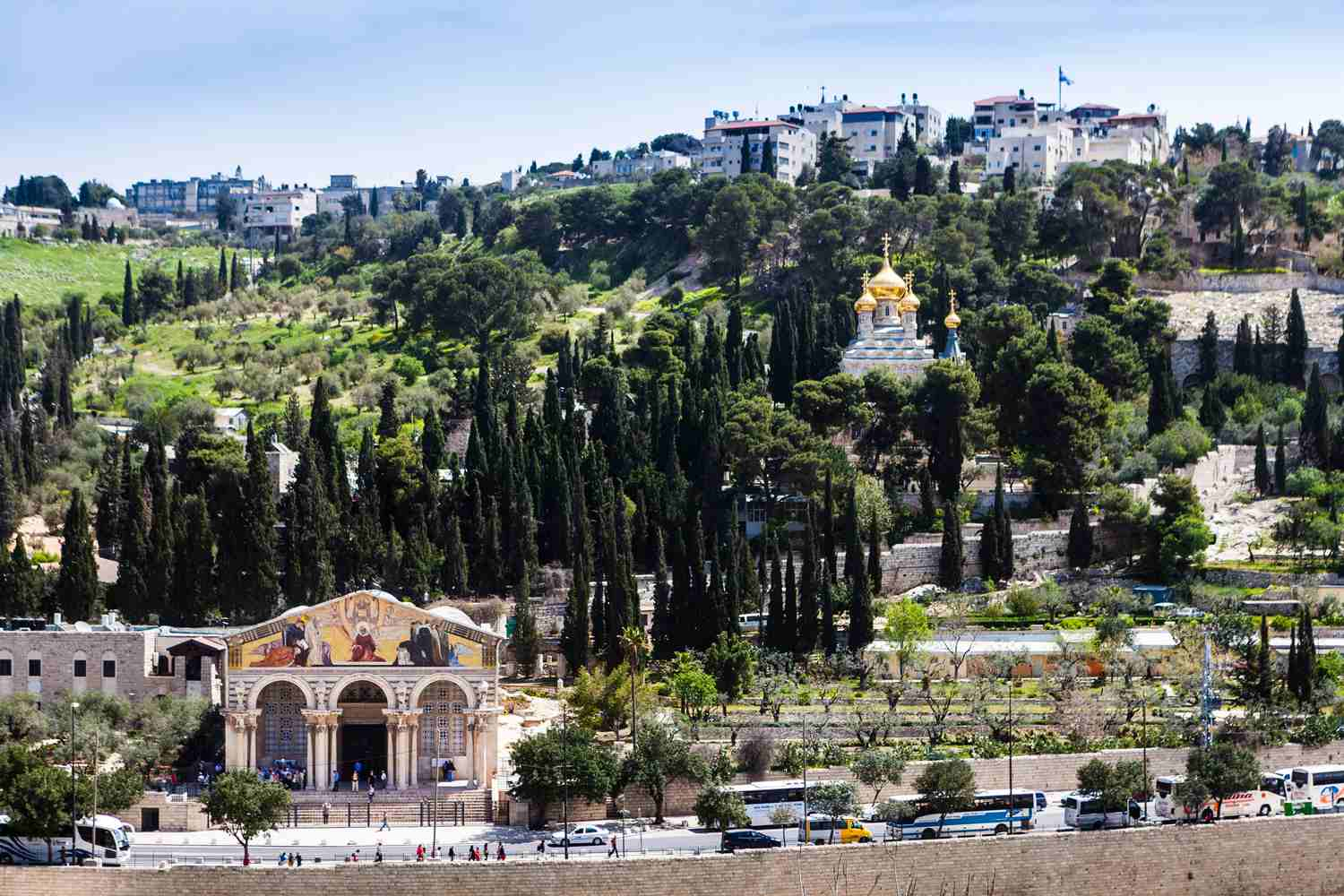 View of the Mount of Olives, with the Garden of Gethsemane on the lower part, and the Russian-style church of Saint Mary Magdalene, Jerusalem, Israel.