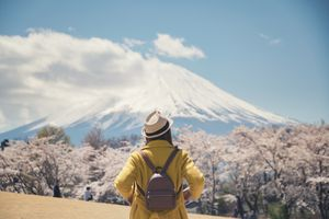 A solo traveler standing in front of Mt Fuji