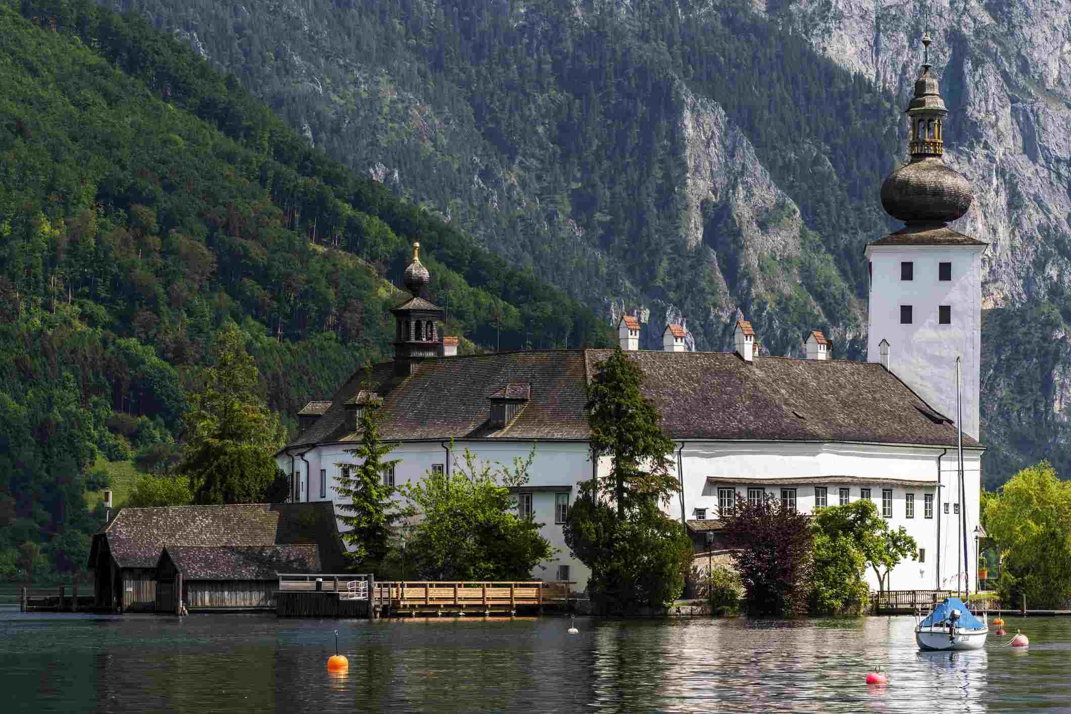 Gmunden, Exterior of Schloss Ort castle, Austria