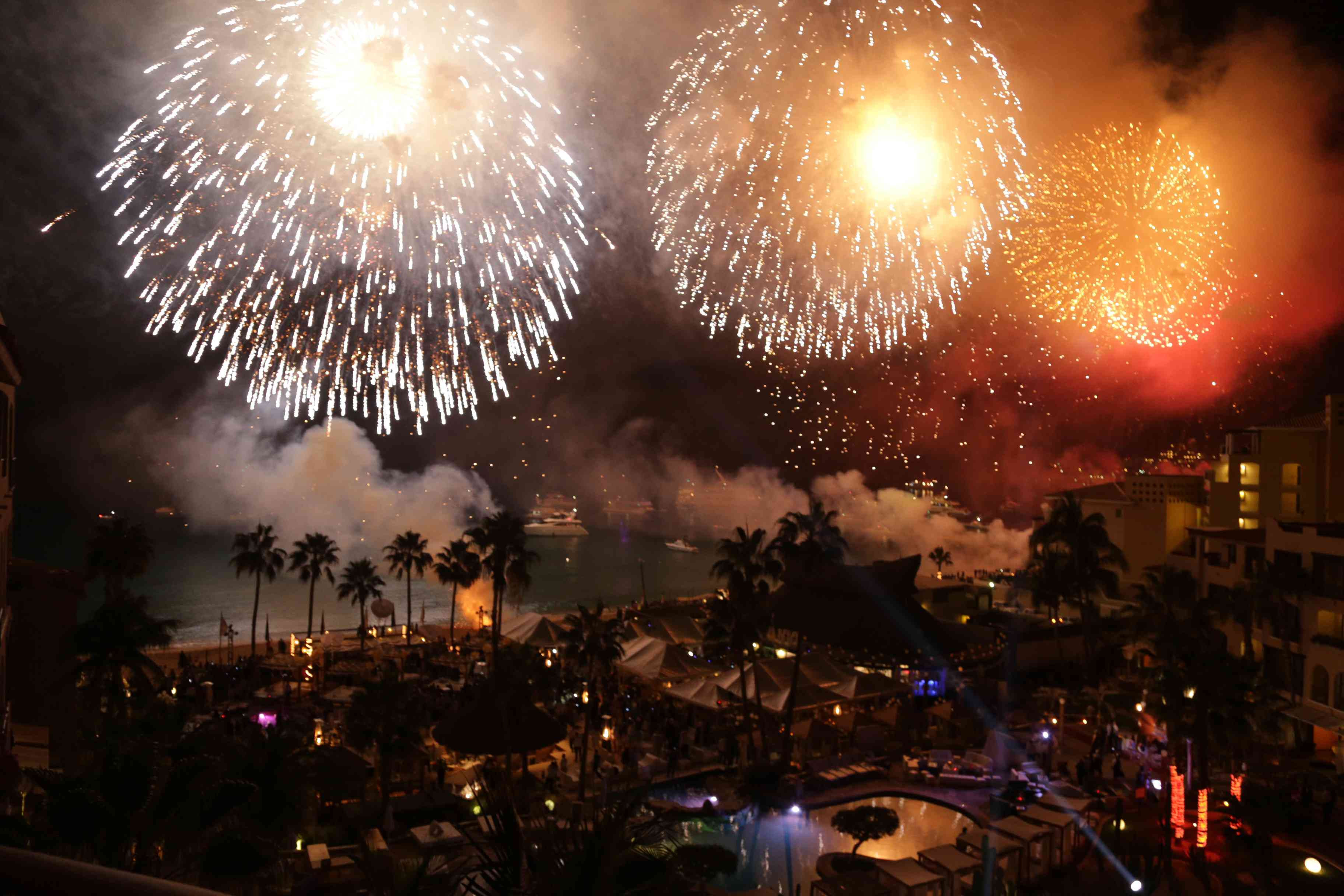 Fireworks display for New Year in Cabo San Lucas, Mexico