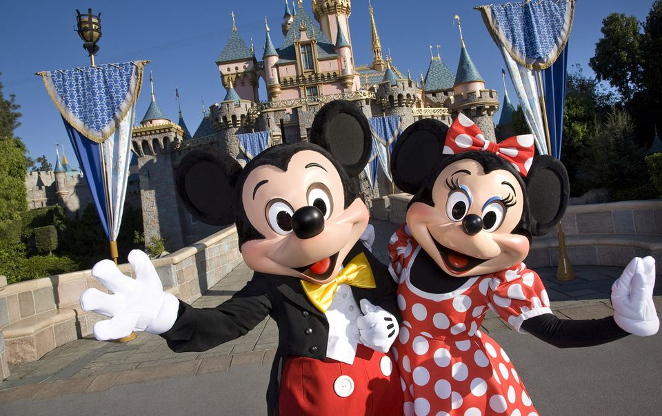Minnie and Mickey Mouse at the Disneyland castle