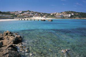 A view of Baia Sardinia's coastline, on the water