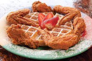 Chicken and waffles at the Breakfast Klub