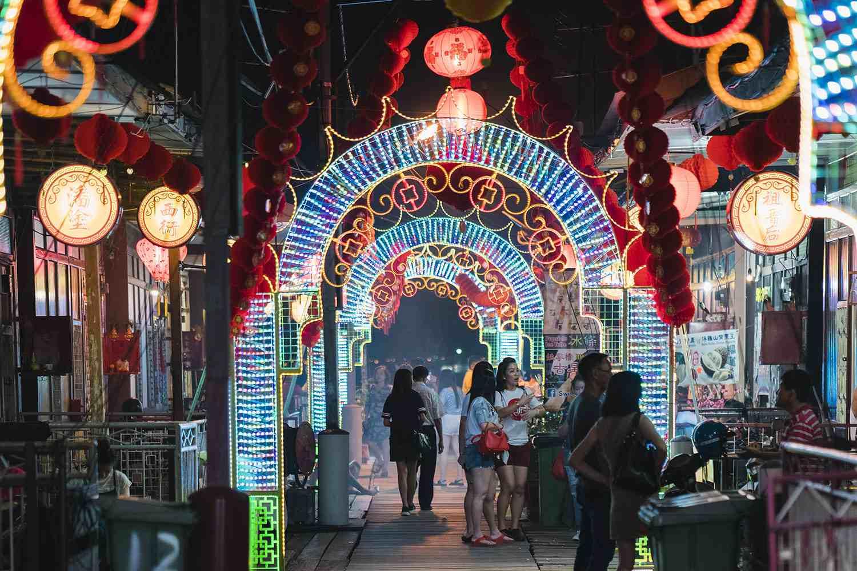 Chinese New Year lights at a Penang clan jetty