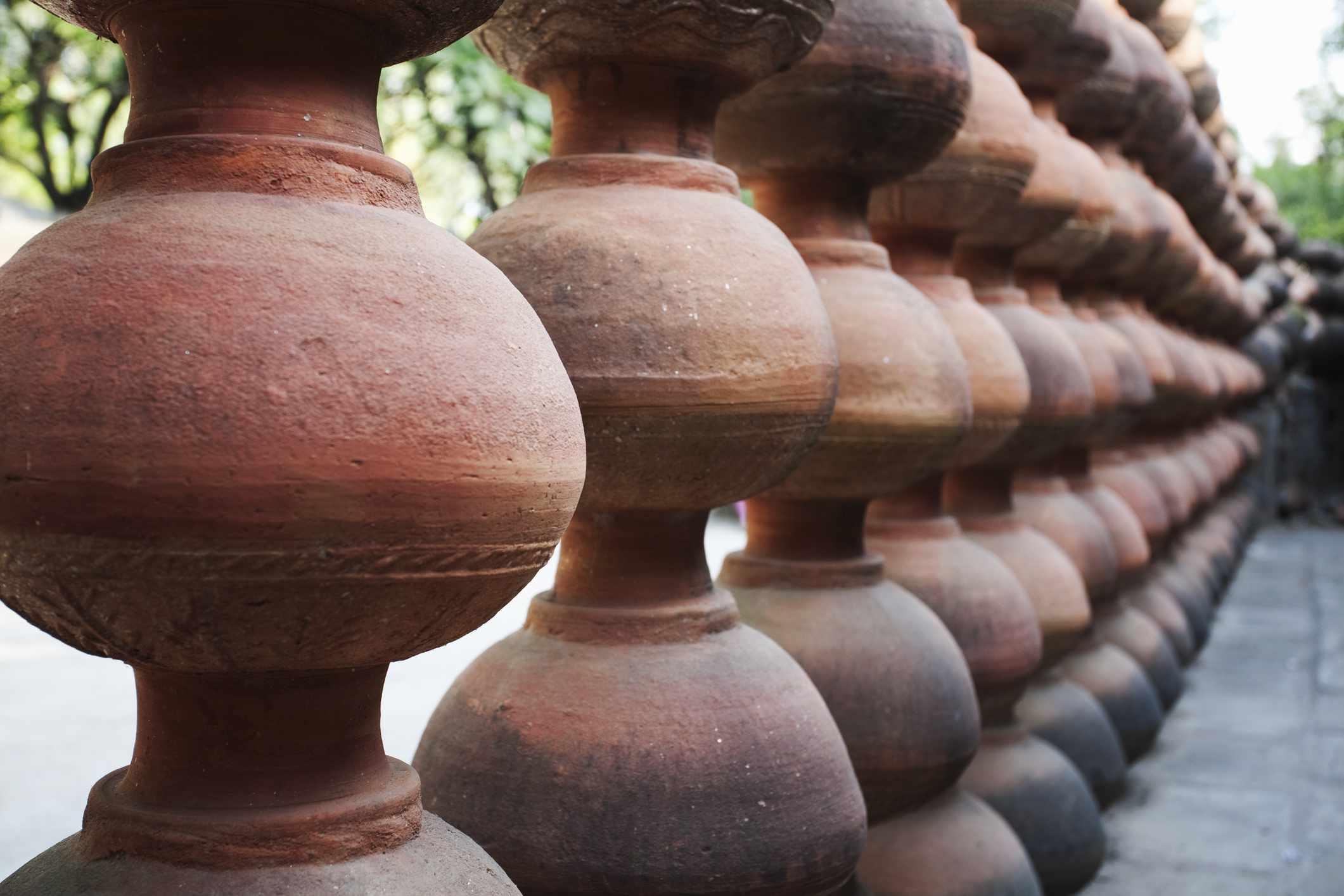 Clay pots lining yard in village of Thikarda.