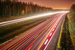 Nighttime time lapse of a highway in Hameenlinna, Finland