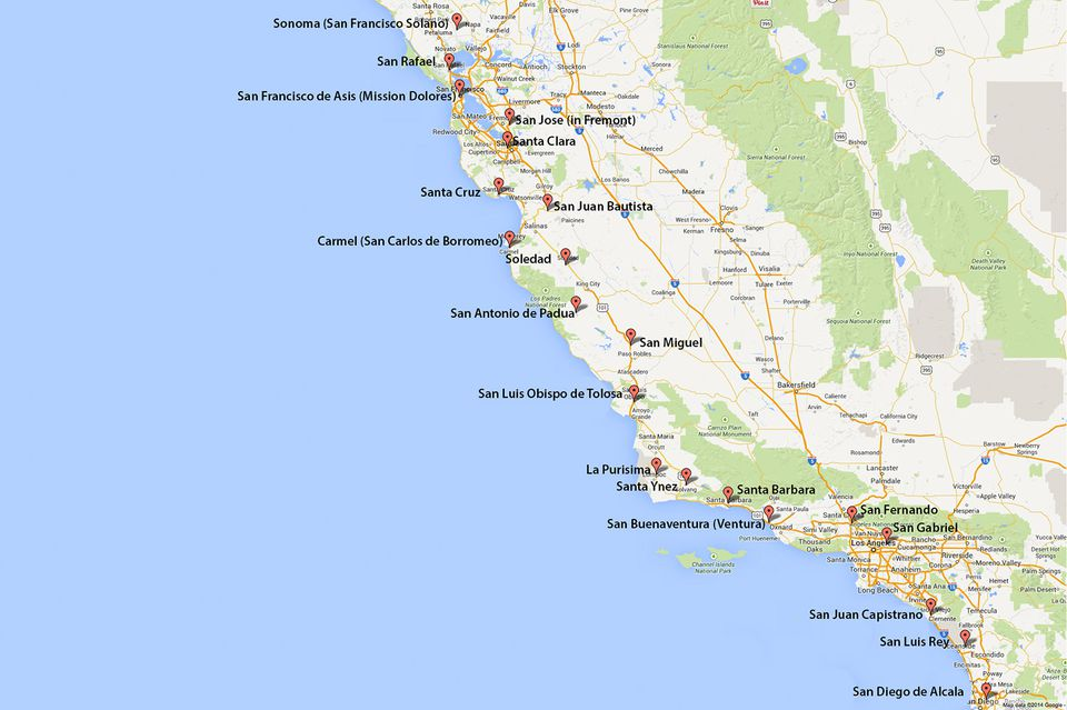 Map Of Ca California Missions Map: Where to Find Them Map Of Ca