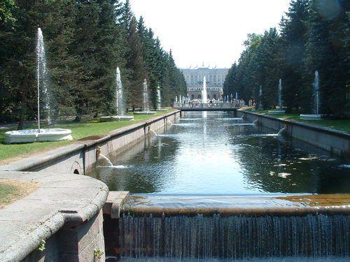 Peterhof Fountains Along the Marine Canal