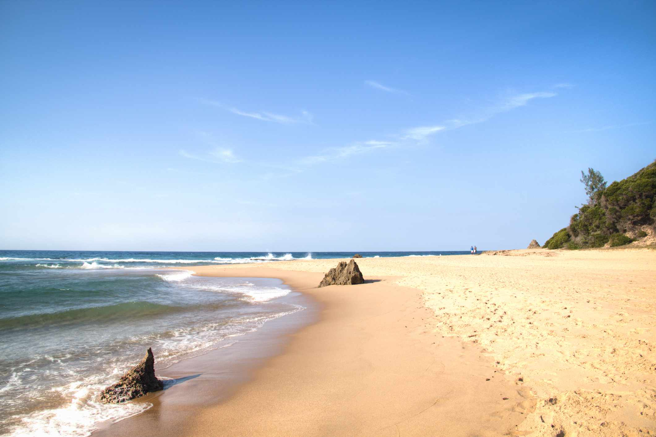 Empty beach in the town of Ponta Do Ouro in Mozambique