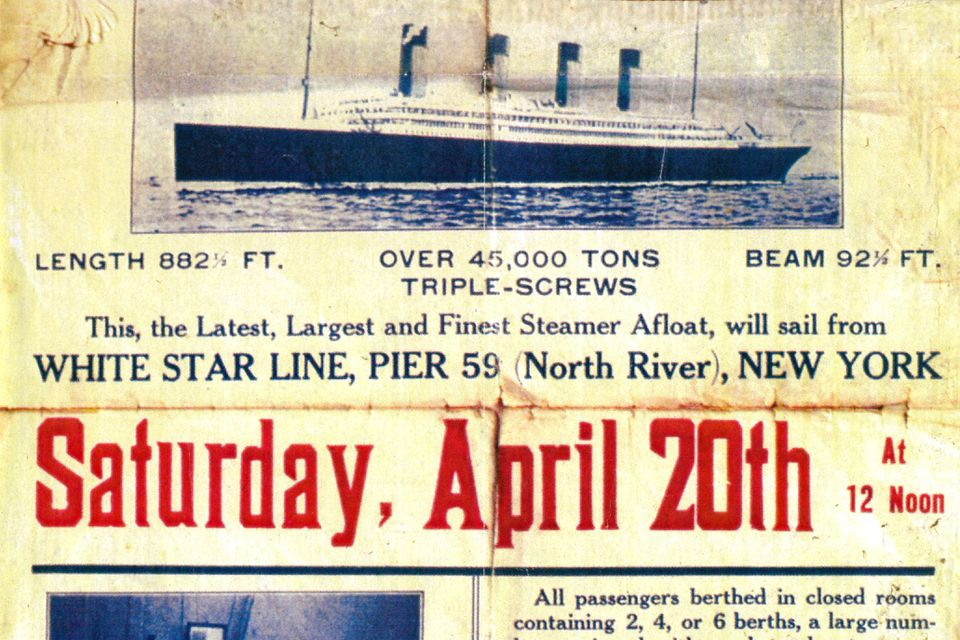 A vintage NYC poster promoting Titanic's scheduled docking on April 20th, 1912