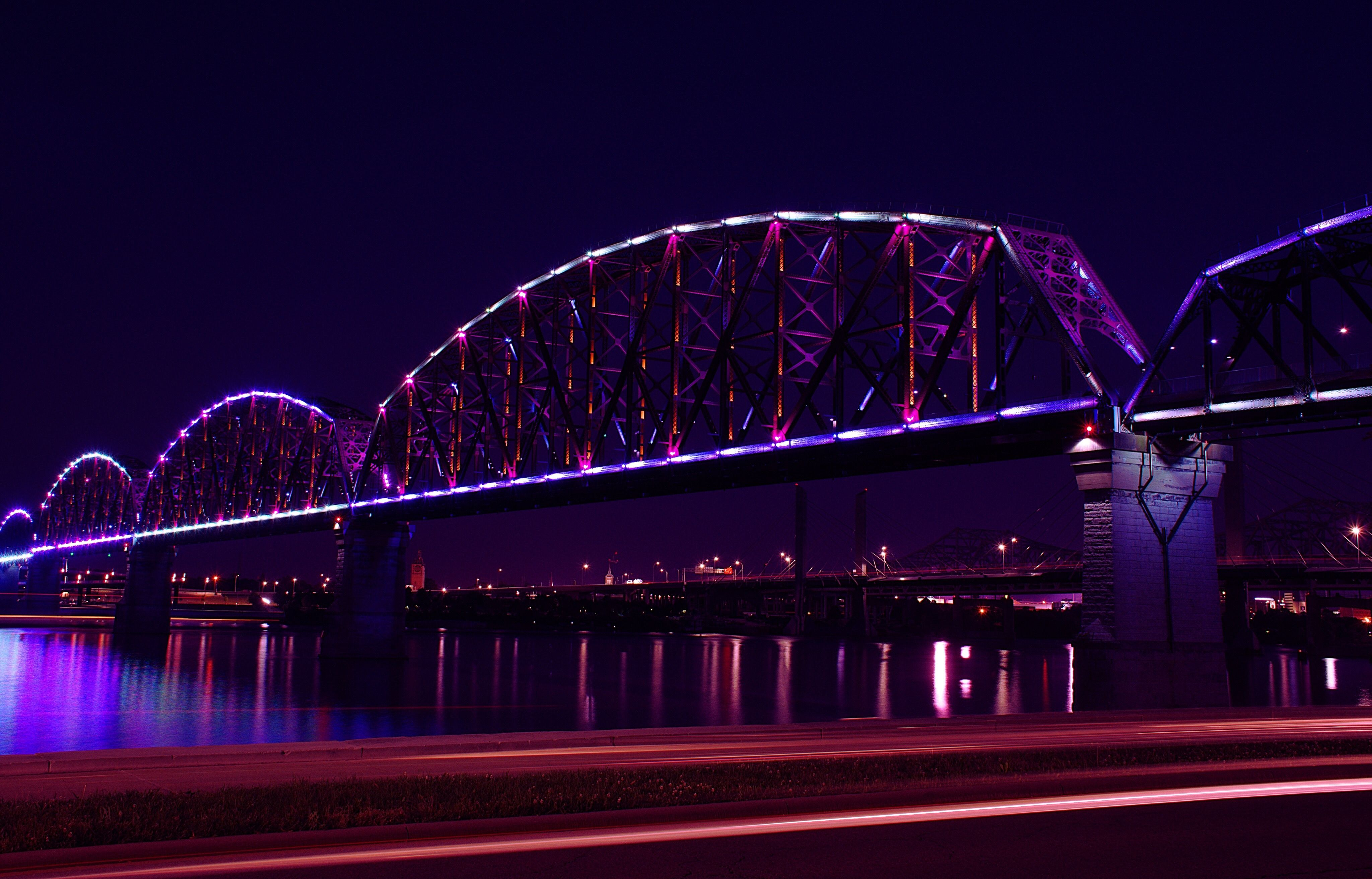 Light Trails By Big Four Bridge Over Ohio River At Night