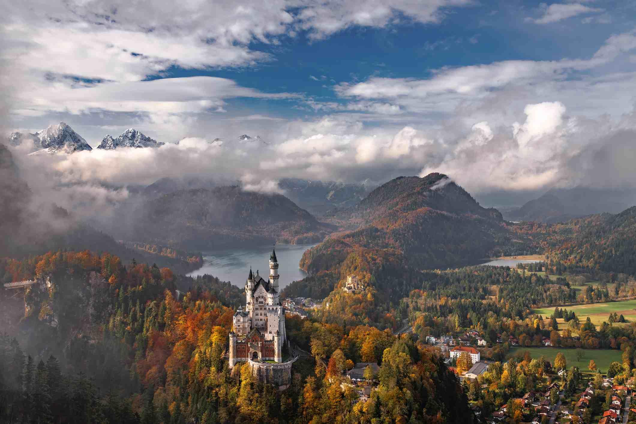 Neuschwanstein castle from the air