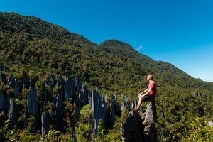Man exploring limestone pinnacles in Mulu National Park, Sarawak, Malaysia