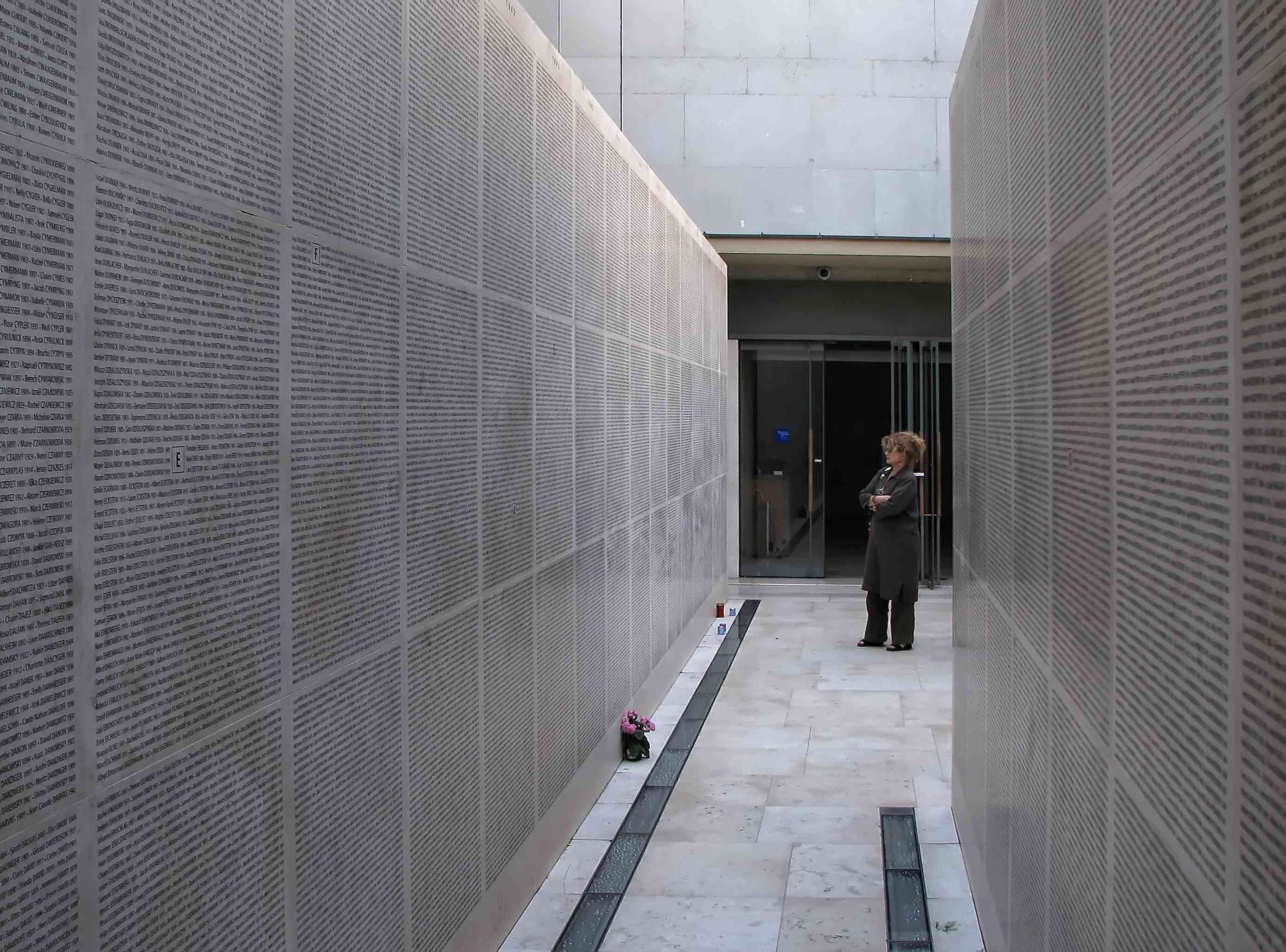 Paris, France - August 07, 2007: View of the Wall of Names in the Shoah Memorial