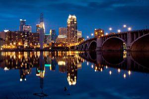 Minneapolis skyline illuminated at night