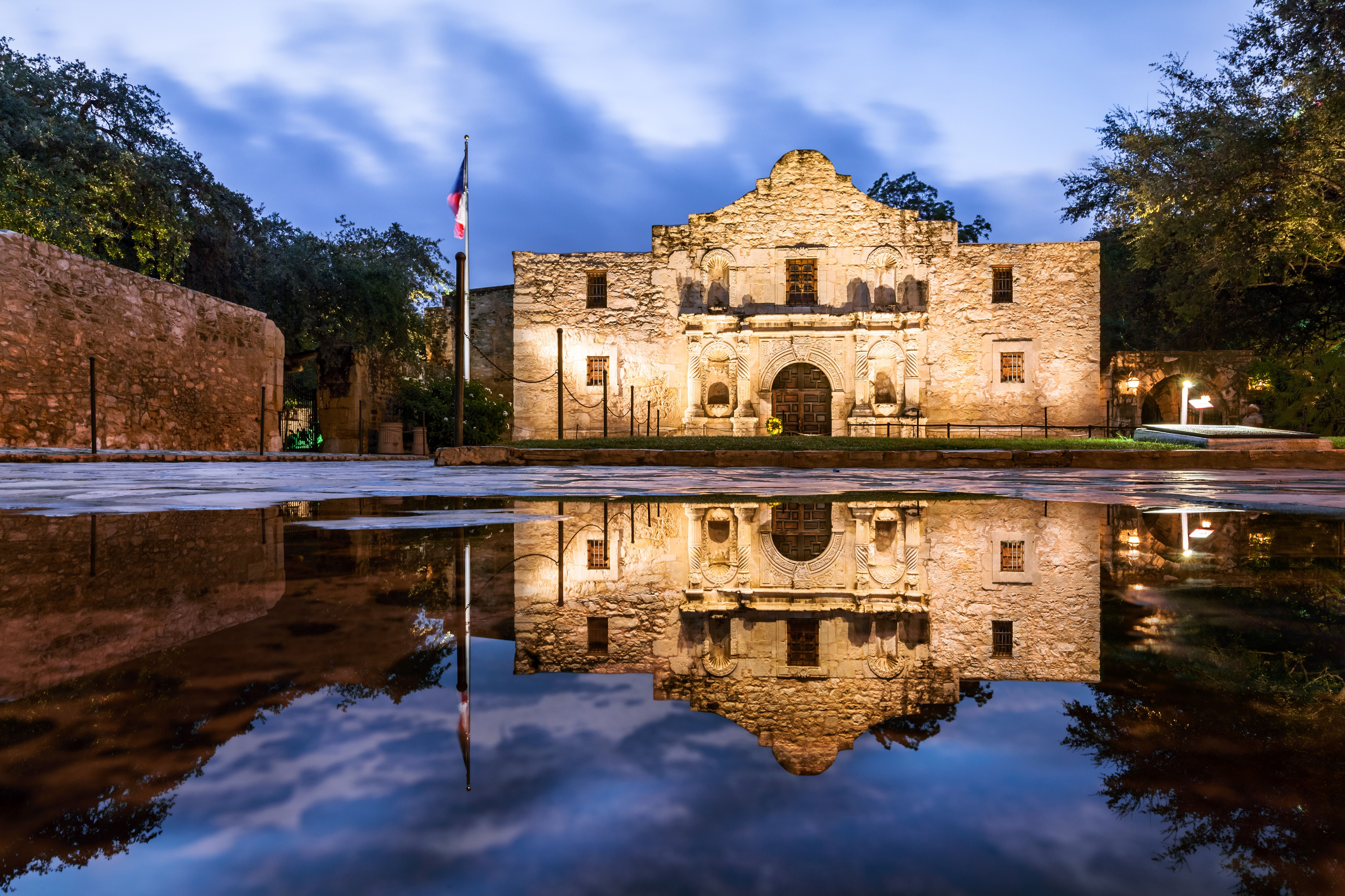 The Alamo at sunset after a rainfall