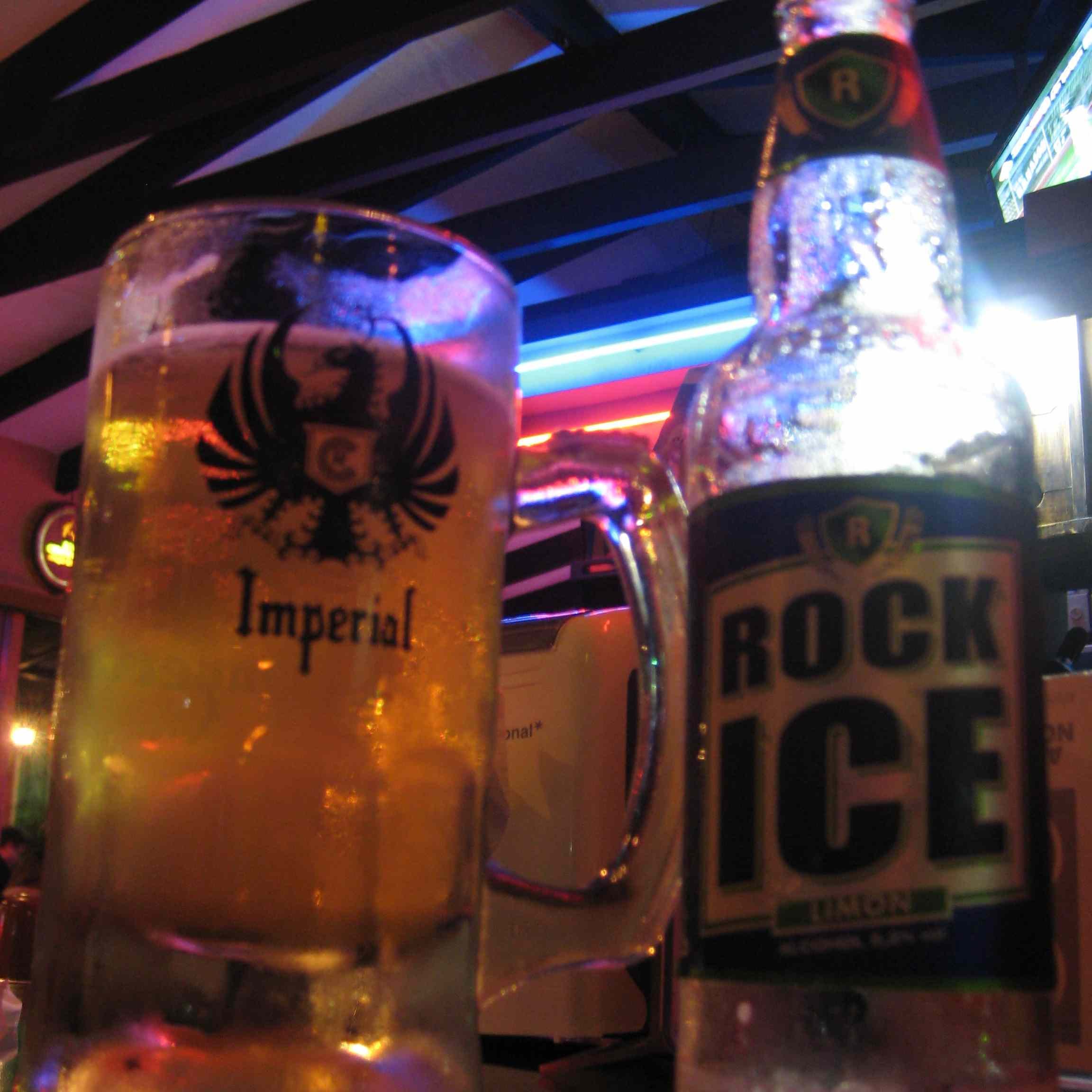 A glass of Imperial and Rock Ice Limon