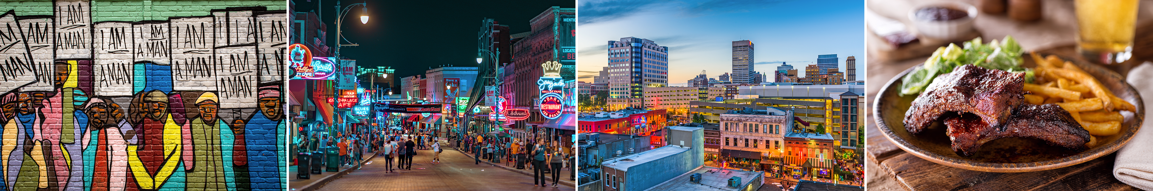 A collage of Memphis pictures including Beale Street at night, a plate of barbecue ribs, a local mural, and a view of the cityscape