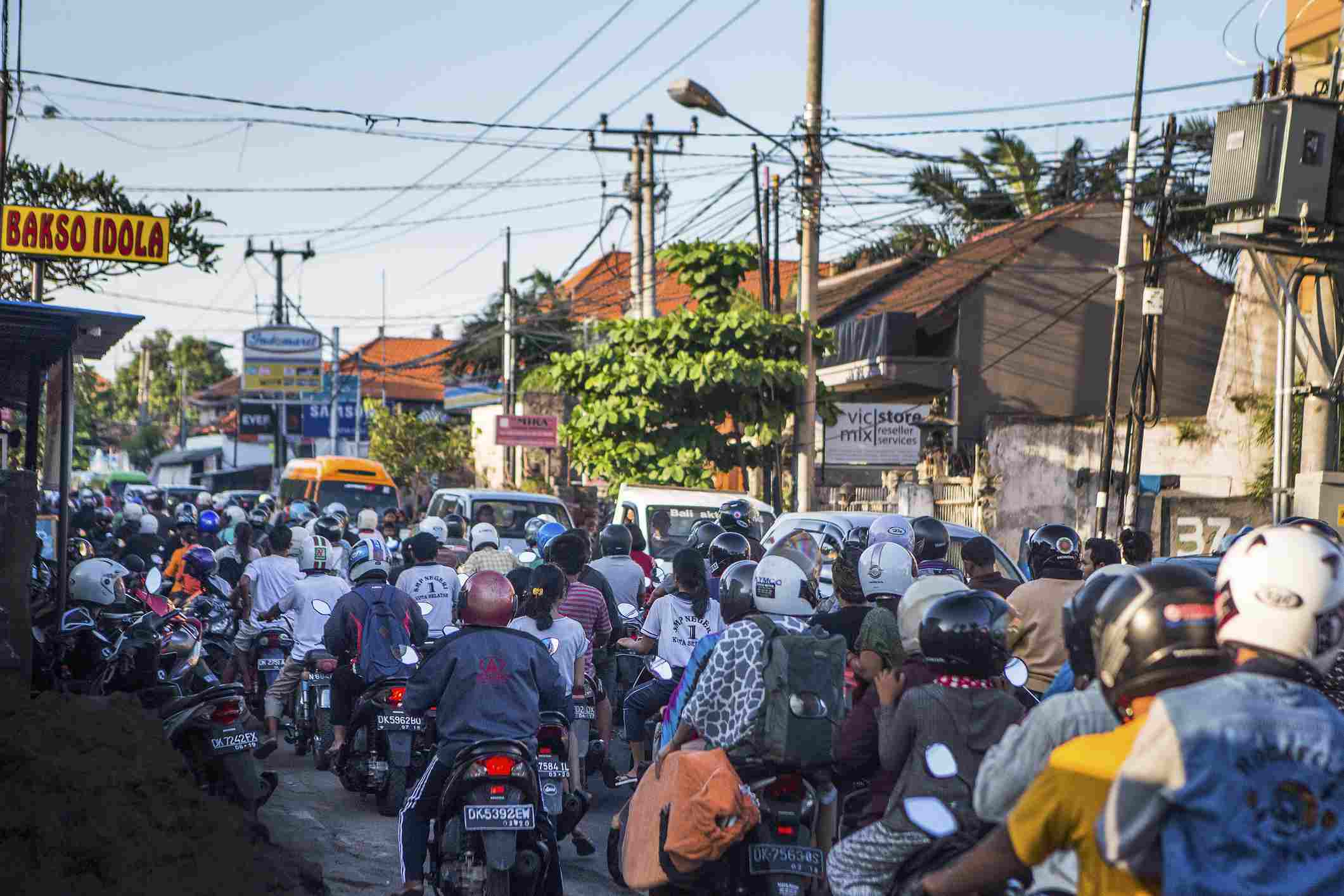 The streets of Bali are notorious for their traffic.
