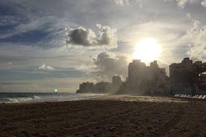 Beach-side in the Condado neighborhood of the Santurce district in San Juan, Puerto Rico.