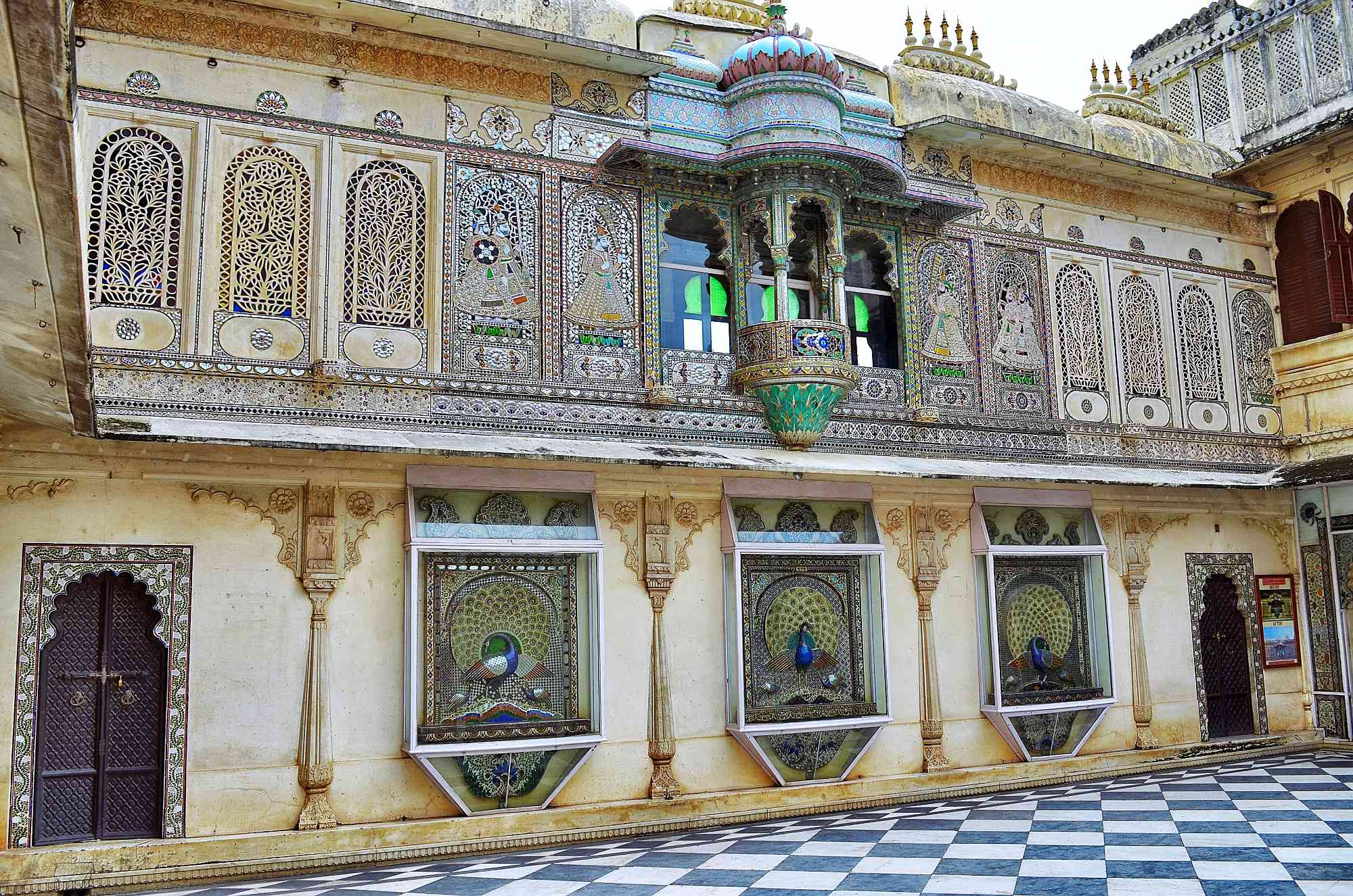 Intricate metal window decorations on Udaipur's City Palace