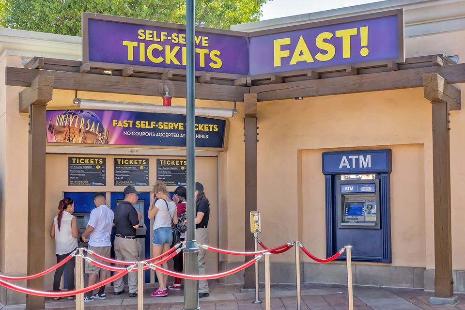 Visitors buying tickets at Universal Studios Hollywood