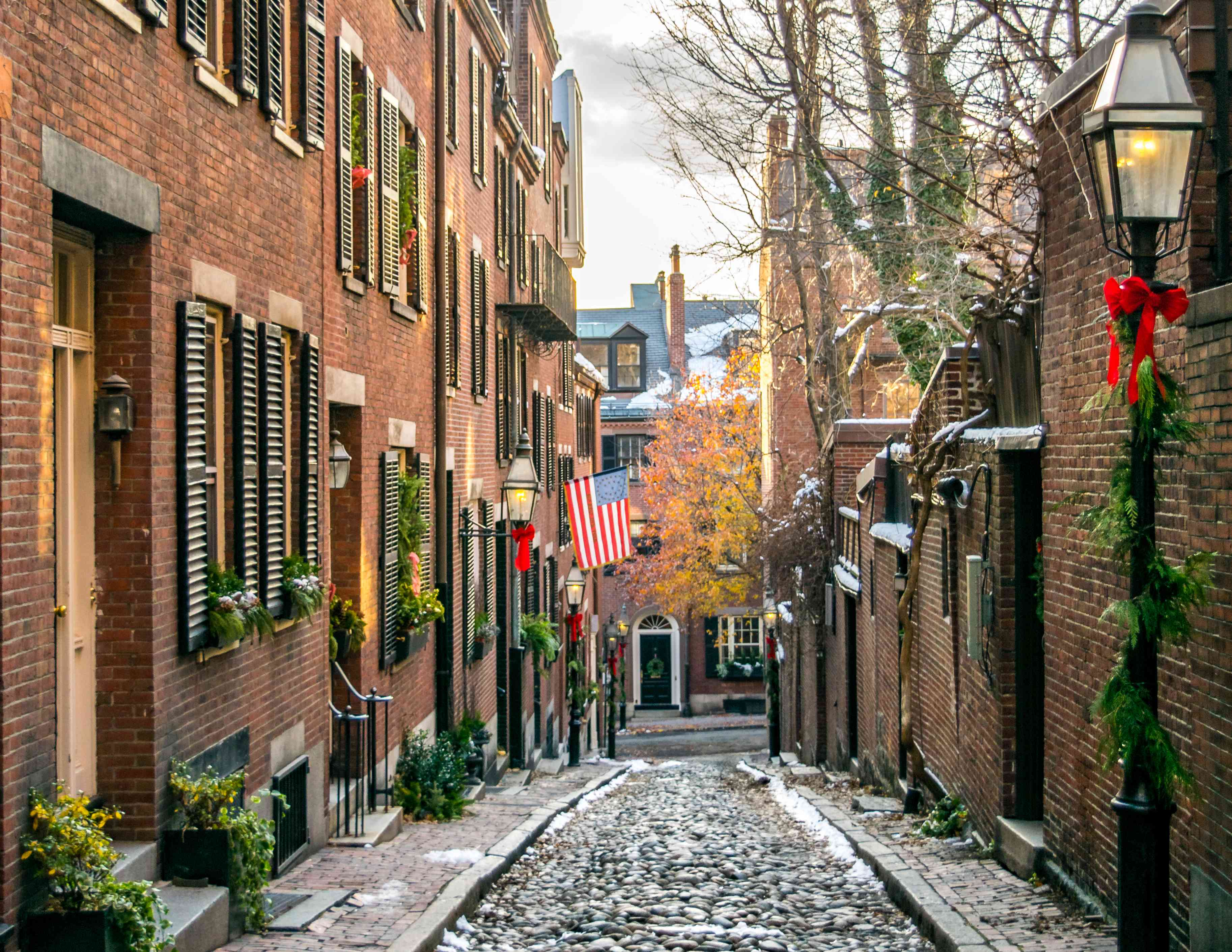 Boston's Famous Acorn Street at Christmas - Boston, Massachusetts, USA