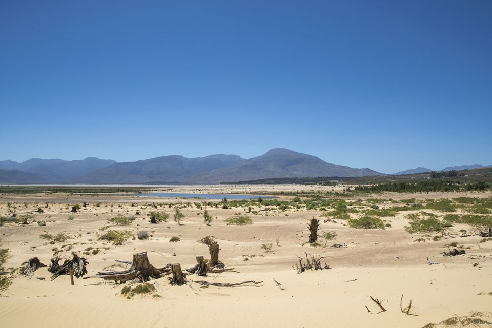 Theewaterskloof Dam during the Cape Town water crisis, 2017