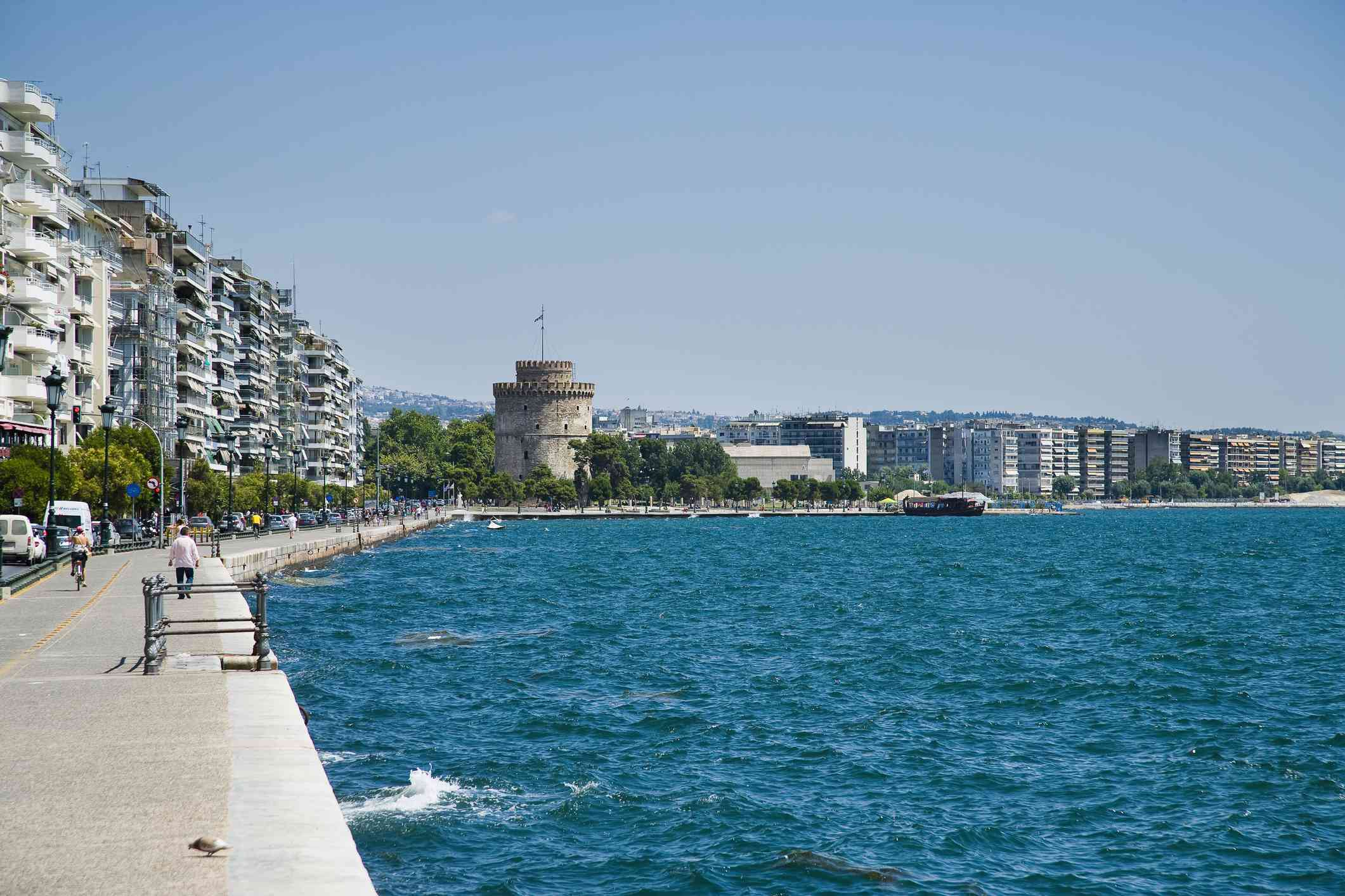 Greece, View of waterfront with White Tower in background; Thessaloniki