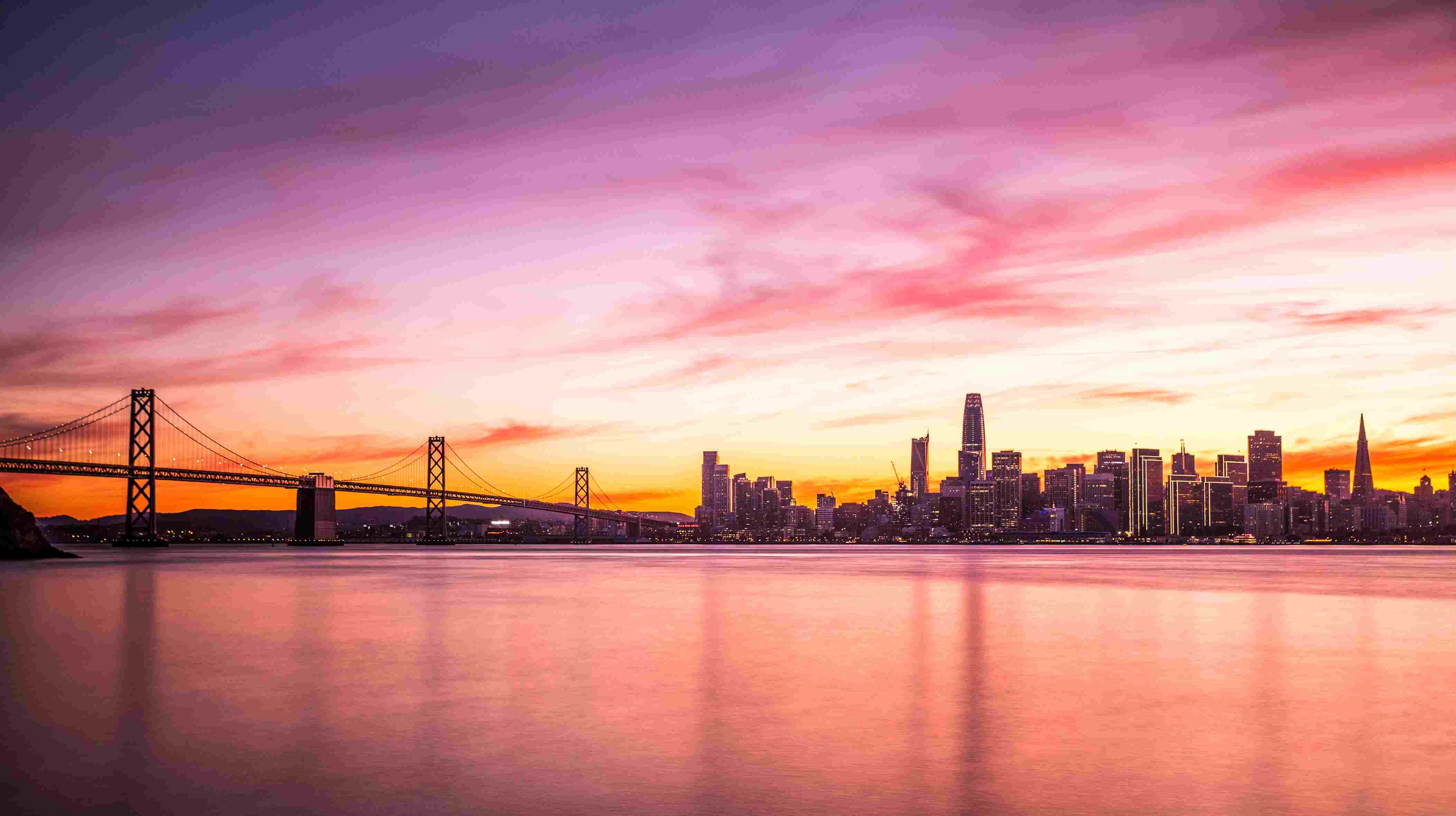 Modern futuristic downtown San Francisco skyline at night