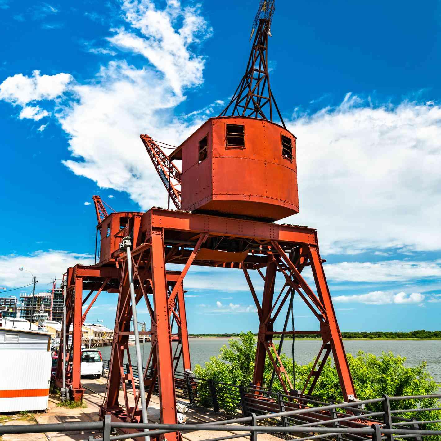 Two cranes at Asuncion river port in Paraguay