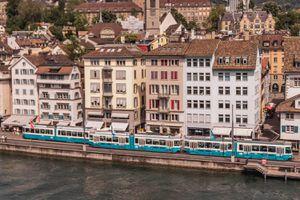 The tram in Zurich, Switzerland