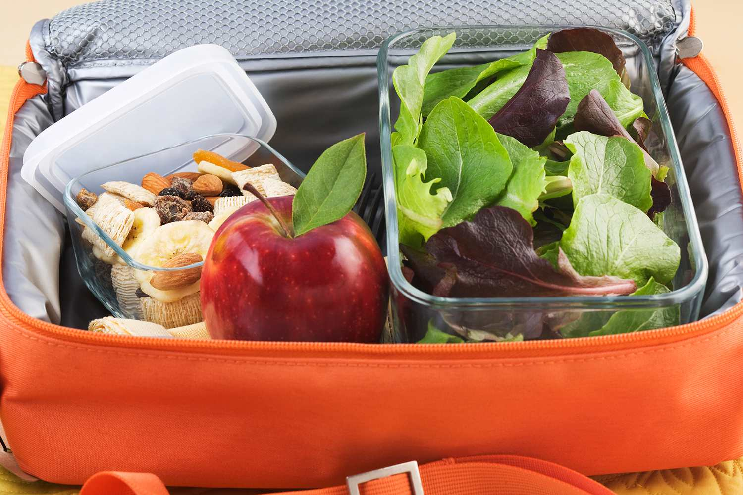 Packed healthy lunch in bag, elevated view