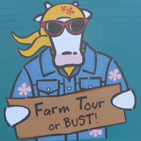 Farm tour sign with cool cow