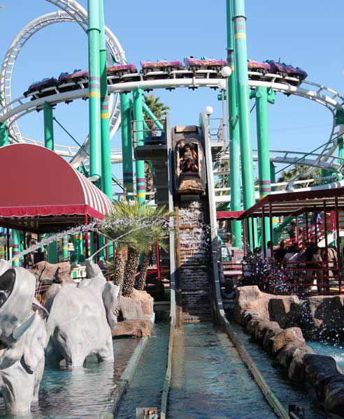Splashdown, with the Desert Storm roller coaster overhead.